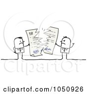 Royalty Free RF Clip Art Illustration Of Stick Businessmen Breaking A Contract