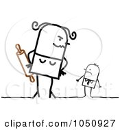 Royalty Free RF Clip Art Illustration Of A Stick Woman Looming Over A Businessman With A Rolling Pin by NL shop
