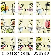 Poster, Art Print Of Digital Collage Of Stick Business Men And Women Shaking Hands