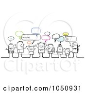 Royalty Free RF Clip Art Illustration Of A Group Of Stick Kids And Adults Chatting