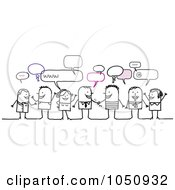 Royalty Free RF Clip Art Illustration Of A Group Of Stick Men And Women Chatting