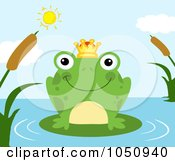 Royalty Free Vector Clip Art Illustration Of A Frog Prince On A Pond by Hit Toon