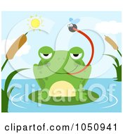 Royalty Free Vector Clip Art Illustration Of A Frog Catching A Fly On A Pond