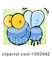 Royalty Free Vector Clip Art Illustration Of A Happy Blue Fly Over Green by Hit Toon