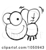 Royalty Free Vector Clip Art Illustration Of A Happy Outlined Fly by Hit Toon