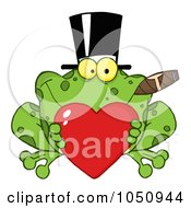 Frog Smoking A Cigar Wearing A Hat And Holding A Heart