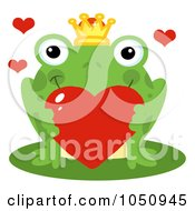 Romantic Frog Prince Holding A Red Heart