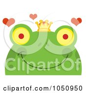 Royalty Free Vector Clip Art Illustration Of A Smiling Frog Prince Face With Hearts by Hit Toon