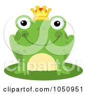 Royalty Free Vector Clip Art Illustration Of A Smiling Frog Prince On A Lily Pad by Hit Toon