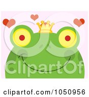 Royalty Free Vector Clip Art Illustration Of A Smiling Frog Prince Face With Hearts Over Pink by Hit Toon