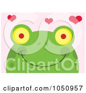 Smiling Frog Face With Hearts Over Pink
