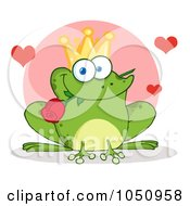 Royalty Free Vector Clip Art Illustration Of A Frog Prince With A Rose Over A Pink Circle by Hit Toon