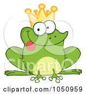Royalty Free Vector Clip Art Illustration Of A Frog Prince Sticking His Tongue Out by Hit Toon
