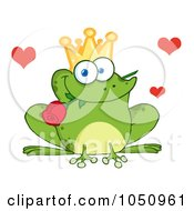 Royalty Free Vector Clip Art Illustration Of A Frog Prince With A Rose