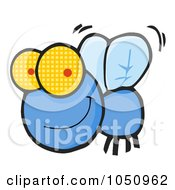 Royalty Free Vector Clip Art Illustration Of A Happy Blue Fly