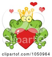 Royalty Free Vector Clip Art Illustration Of A Frog Prince Holding A Heart