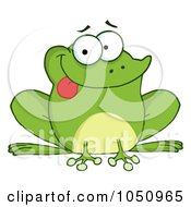 Royalty Free Vector Clip Art Illustration Of A Goofy Frog Sticking His Tongue Out by Hit Toon
