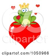 Royalty Free Vector Clip Art Illustration Of A Frog Prince With A Rose On A Heart by Hit Toon