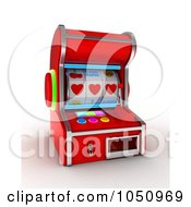 Royalty Free RF Clip Art Illustration Of A 3d Slot Machine With Three Hearts