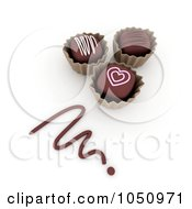 Royalty Free RF Clip Art Illustration Of 3d Valentine Chocolates With A Chocolate Scribble