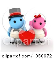 Royalty Free RF Clip Art Illustration Of A 3d Bird Couple With A Red Heart