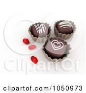 Royalty Free RF Clip Art Illustration Of 3d Valentine Chocolates With Rose Petals