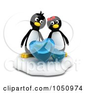 Royalty Free RF Clip Art Illustration Of 3d Valentine Penguins With Ice Hearts by BNP Design Studio