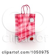 Royalty Free RF Clip Art Illustration Of A 3d Plaid Valentine Gift Bag With A Heart Tag And Rose Petal
