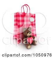 Royalty Free RF Clip Art Illustration Of A 3d Plaid Valentine Gift Bag With A Teddy Bear by BNP Design Studio