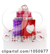 Royalty Free RF Clip Art Illustration Of 3d Plaid Valentine Gift Bags