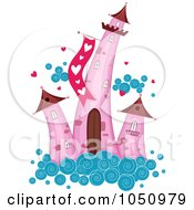 Royalty Free Vector Clip Art Illustration Of Pink Valentine Towers On A Cloud by BNP Design Studio
