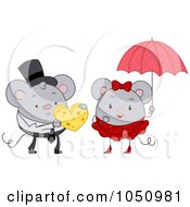 Royalty Free Vector Clip Art Illustration Of A Mouse Giving Cheese To His Valentine by BNP Design Studio