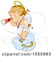 Royalty Free Vector Clip Art Illustration Of A Valentine Cupid Viewing On A Cloud by BNP Design Studio