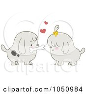 Royalty Free Vector Clip Art Illustration Of A Valentine Dog Couple Sharing A Bone