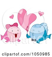 Royalty Free Vector Clip Art Illustration Of A Fish Blowing A Heart Bubble For His Valentine by BNP Design Studio