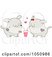 Royalty Free Vector Clip Art Illustration Of A Valentine Dog Couple Sharing A Drink