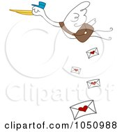 Royalty Free Vector Clip Art Illustration Of A Stork Dropping Love Letters by BNP Design Studio