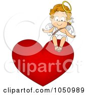 Royalty Free Vector Clip Art Illustration Of A Valentine Cupid Sitting On A Heart by BNP Design Studio