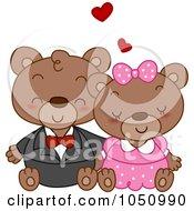 Royalty Free Vector Clip Art Illustration Of A Valentine Bear Couple Cuddling
