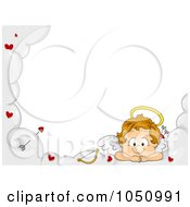 Royalty Free Vector Clip Art Illustration Of A Valentine Cupid Resting On A Cloud Frame