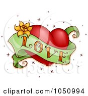 Royalty Free Vector Clip Art Illustration Of A Green Love Banner And Red Heart Tattoo