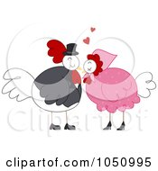 Royalty Free Vector Clip Art Illustration Of A Valentine Chicken Couple by BNP Design Studio