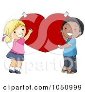 Royalty Free Vector Clip Art Illustration Of Valentine Kids Holding Up A Red Heart