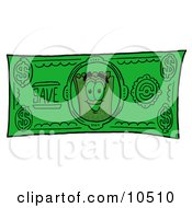 Yellow Admission Ticket Mascot Cartoon Character On A Dollar Bill