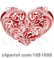 Royalty Free Vector Clip Art Illustration Of A Red Heart Made Of Lush Flourishes