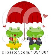 Frog Holding An Umbrella Over His Girl