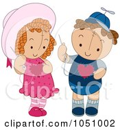 Royalty Free Vector Clip Art Illustration Of Dolls Sewing Hearts On Their Chests