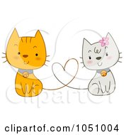 Royalty Free Vector Clip Art Illustration Of A Pair Of Valentine Cats With Their Tails Forming A Heart