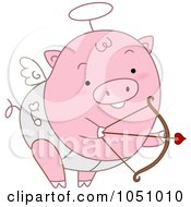 Royalty Free Vector Clip Art Illustration Of A Cupid Pig Shooting Arrows by BNP Design Studio