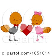 Royalty Free Vector Clip Art Illustration Of A Valentine Ant Couple by BNP Design Studio